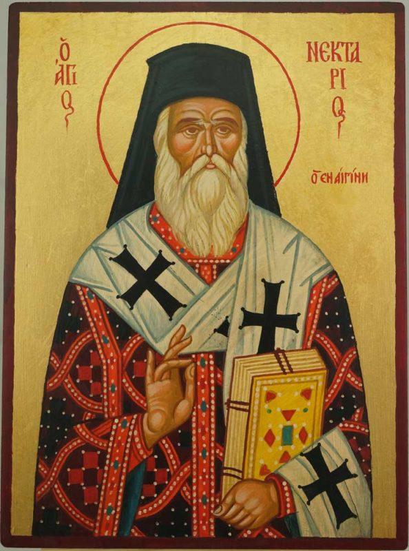 Saint Nectarios of Aegina Hand Painted Greek Orthodox Icon on Wood