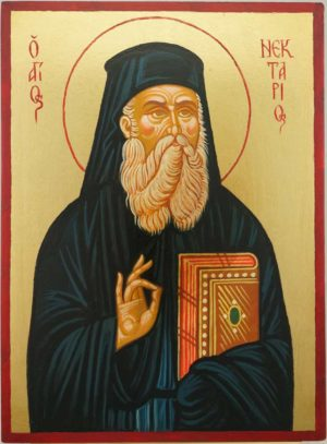 Saint Nectarios of Pentapolis Hand Painted Orthodox Icon on Wood