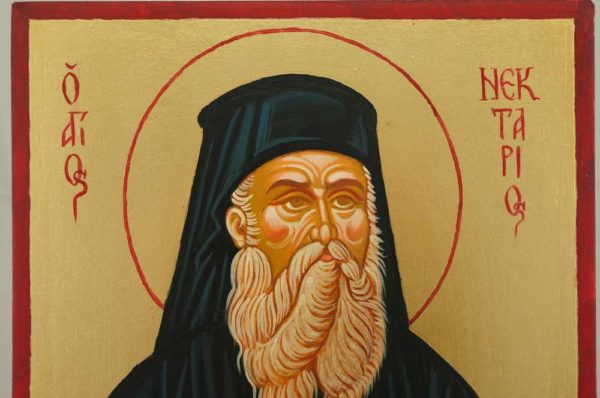 Saint Nectarios of Pentapolis Hand Painted Orthodox Icon on Wood