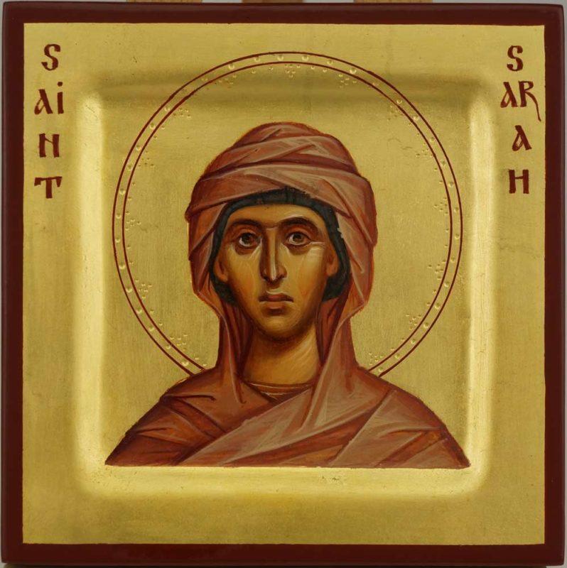 Saint Sarah Miniature Icon Hand Painted Byzantine Orthodox