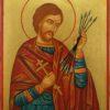 Saint Sebastian Hand Painted Orthodox Icon on Wood