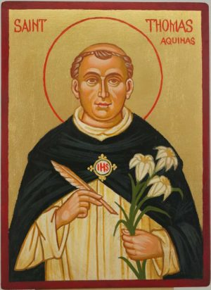 Saint Thomas Aquinas Hand Painted Roman Catholic Icon