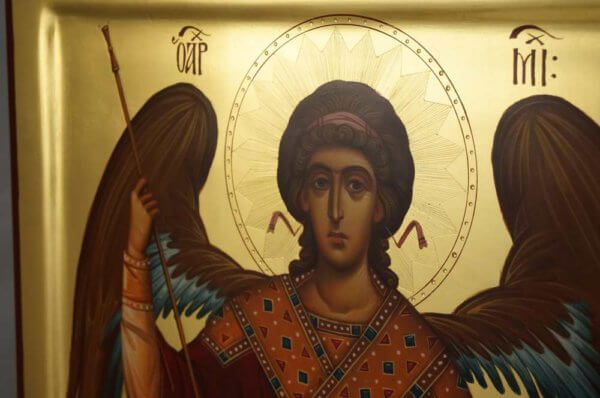 St Archangel Michael polished gold Hand Painted Orthodox Icon on Wood