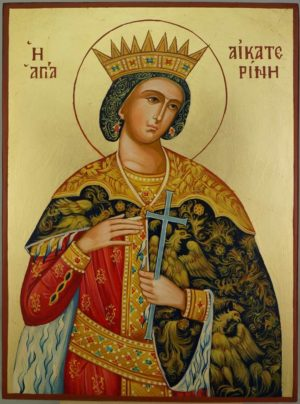 St Catherine of Alexandria cm Hand Painted Orthodox Icon on Wood