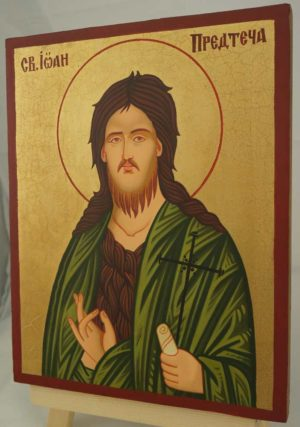 St John the Baptist Icon Hand Painted Byzantine Orthodox on Wood