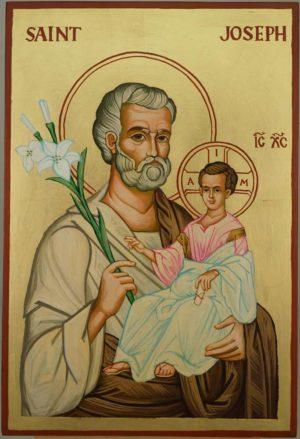 St Joseph and Child Jesus Large Hand Painted Orthodox Icon on Wood
