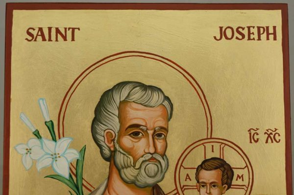 St Joseph and Child Jesus Large Hand Painted Orthodox Icon on Wood