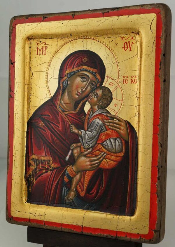 The Virgin Eleusa Hand Painted Orthodox Icon Raised Border Cretan Icon
