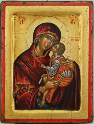 The Virgin Eleusa Hand Painted Orthodox Icon Raised Border Cretan Icon