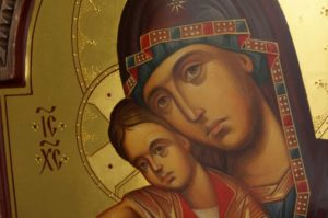 Theotokos Axion Estin It Is Truly Meet Hand Painted Byzantine Orthodox Icon Carved Wood Polished Gold