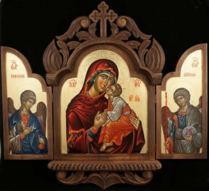 Theotokos Eleusa Archangel Raphael and Gabriel Hand Painted Orthodox Icon Triptych