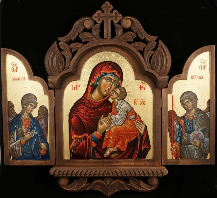 Theotokos Eleusa Archangel Raphael and Gabriel Hand Painted Orthodox Icon Triptych