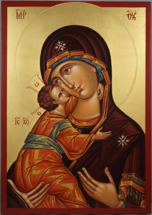 Theotokos Sweet Loving Hand Painted Byzantine Orthodox Icon