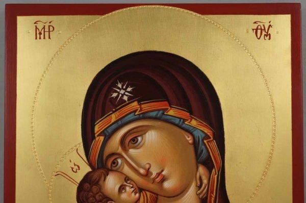 Theotokos Sweet Loving Hand Painted Byzantine Orthodox Icon