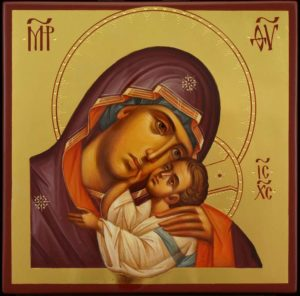 Theotokos Tenderness polished gold Hand Painted Byzantine Orthodox Icon on Wood