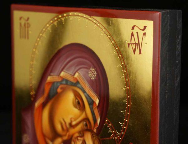 Theotokos Tenderness polished gold Hand Painted Byzantine Orthodox Icon on Wood
