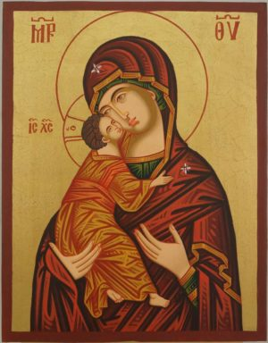 Theotokos of Vladimir Hand Painted Icon Byzantine Orthodox on Wood