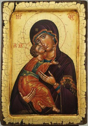 Theotokos of Vladimir Icon Antique Style Raised Border Hand Painted Orthodox Icon