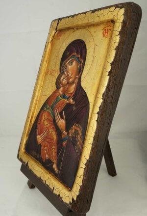 Theotokos of Vladimir Icon Antique Style Raised Border Hand Painted Orthodox Icon