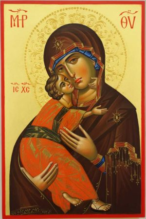 Theotokos of Vladimir halo relief Hand Painted Orthodox Icon