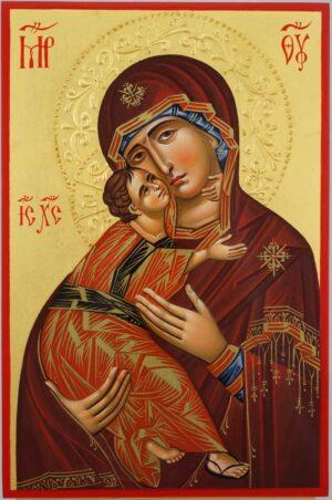 Theotokos of Vladimir halo relief Icon Hand Painted Byzantine Orthodox