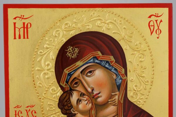 Theotokos of Vladimir halo relief Icon Hand Painted Byzantine Orthodox