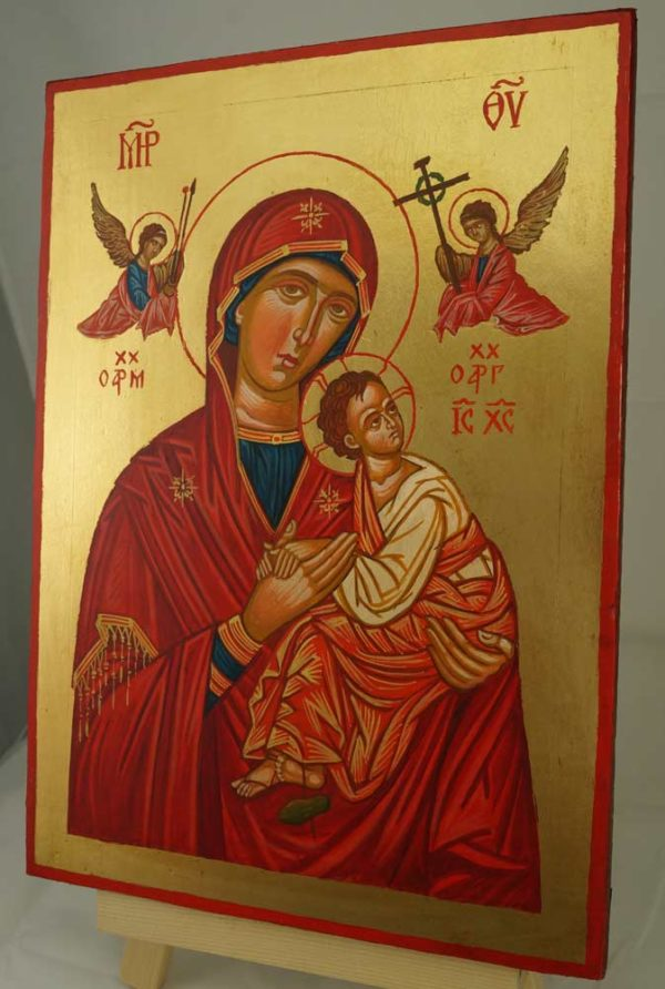Theotokos of the Passion Hand Painted Byzantine Orthodox Icon on Wood
