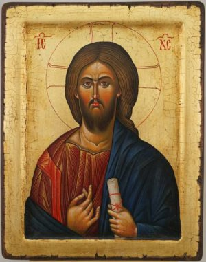 Jesus Christ Pantocrator Mount Athos Hand Painted Byzantine Orthodox Icon on Solid Wood