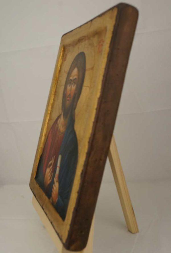 Jesus Christ Pantocrator Mount Athos Hand Painted Byzantine Orthodox Icon on Solid Wood