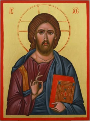 Jesus Christ Pantokrator Hand Painted Byzantine Orthodox Icon on Wood