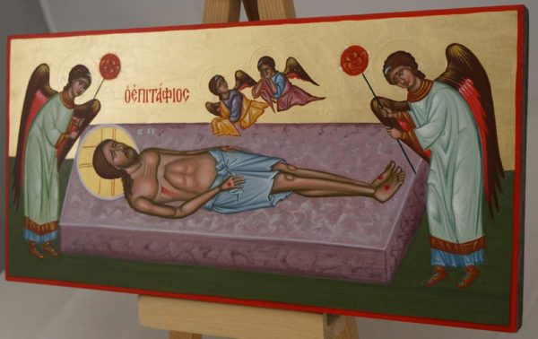 Lamentation of Christ Epitaphios Hand Painted Byzantine Icon on Wood