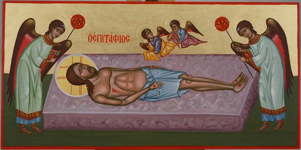 Lamentation of Christ Epitaphios Hand Painted Byzantine Icon on Wood