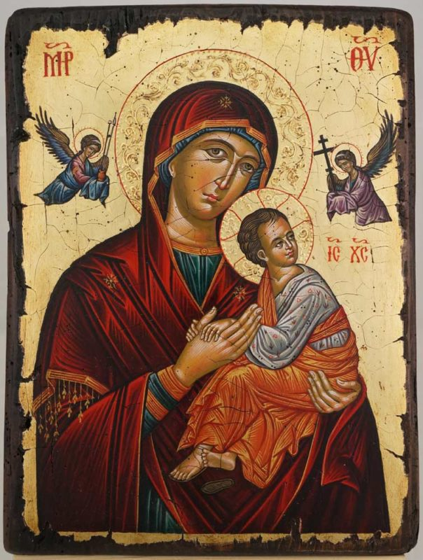 Our Lady of Perpetual HelpCretan Hand Painted Byzantine Icon on Wood