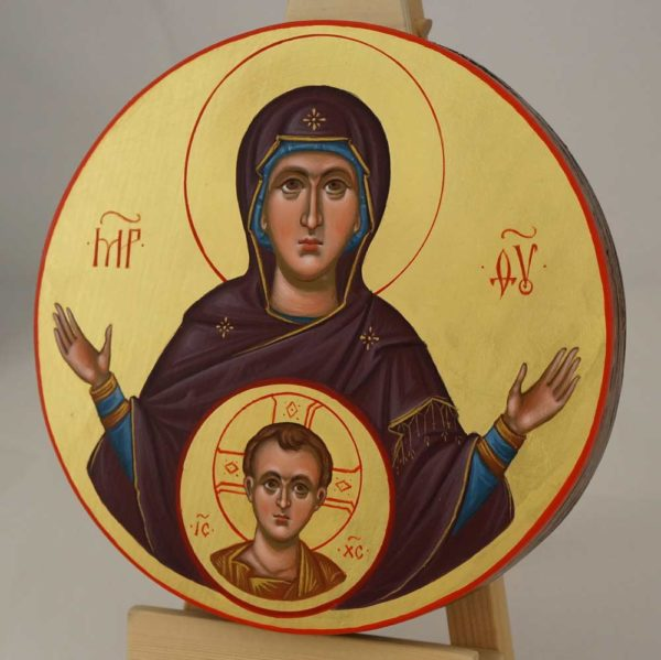 Our Lady of the Sign Hand Painted Orthodox Icon on Wood