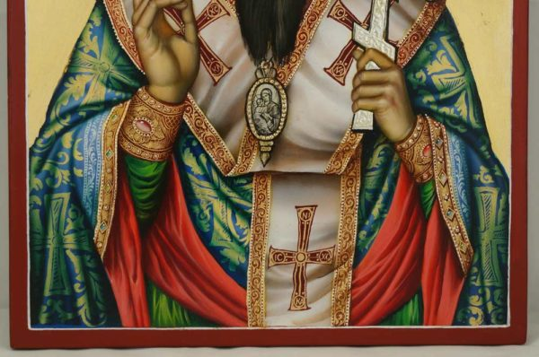 Saint Basil the Great Hand Painted Orthodox Icon on Wood