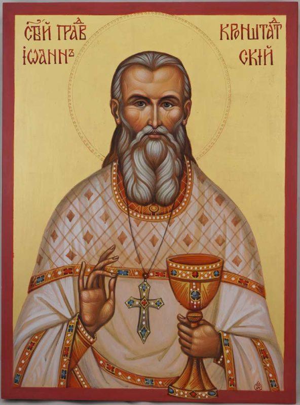 Saint John of Kronstadt Hand Painted Orthodox Icon on Wood