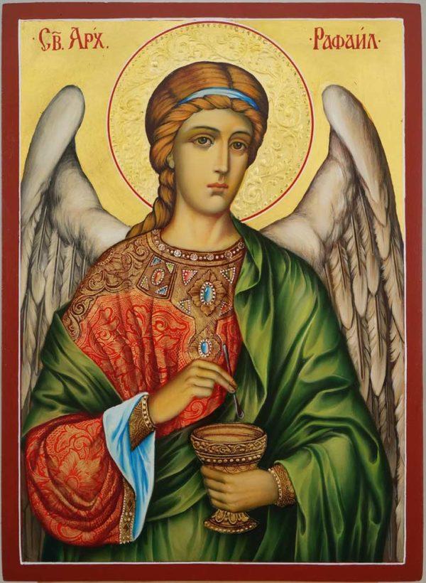 St Archangel Raphael Decorated Halo Hand Painted Orthodox Icon on Wood