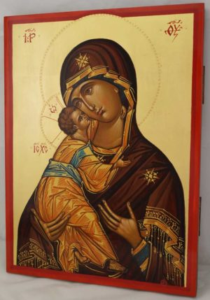 Theotokos Eleusa Hand Painted Byzantine Orthodox Icon on Wood