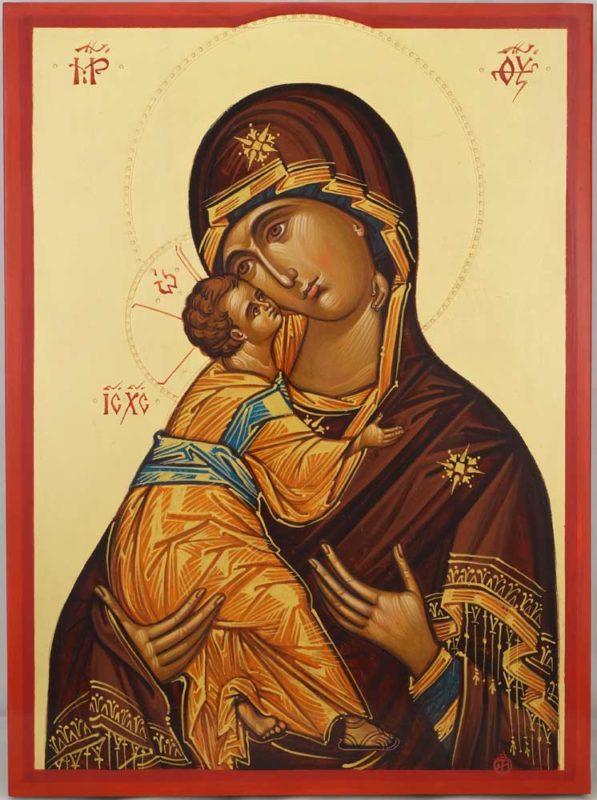 Theotokos Eleusa Hand Painted Byzantine Orthodox Icon on Wood