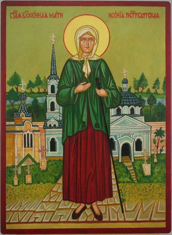 Blessed Xenia of St. Petersburg Hand Painted Orthodox Icon on Wood