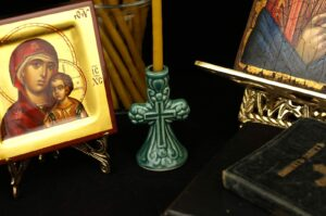 Ceramic Candle Holder A Cross Design Orthodox Candlestick