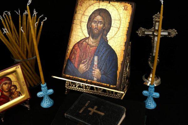 Ceramic Candle Holder B Cross Design Orthodox Candlestick