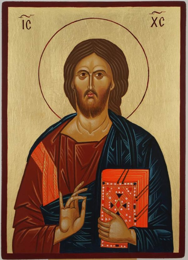 Jesus Christ Our Lord Closed Book Icon Hand Painted Byzantine Orthodox