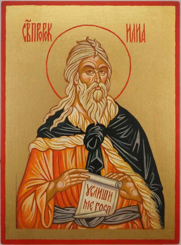 Prophet Elijah Hand Painted Byzantine Icon on Wood