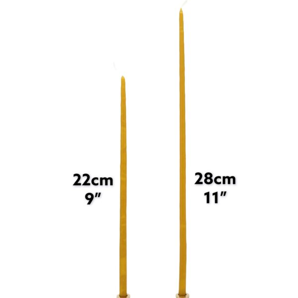 Pure Beeswax Church Candles Size Comparison