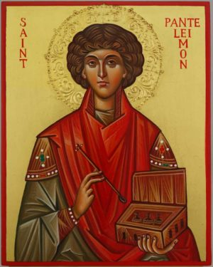 Saint Pantaleon halo relief Hand Painted Byzantine Orthodox Icon on Wood