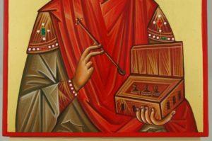 Saint Pantaleon halo relief Hand Painted Byzantine Orthodox Icon on Wood