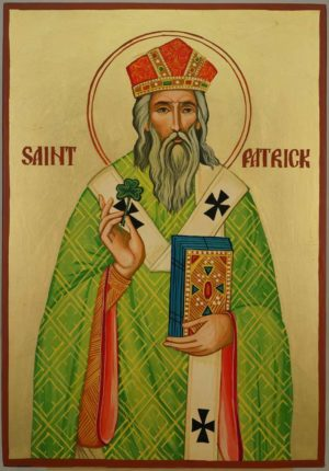 Saint Patrick of Ireland Large Hand Painted Orthodox Icon on Wood