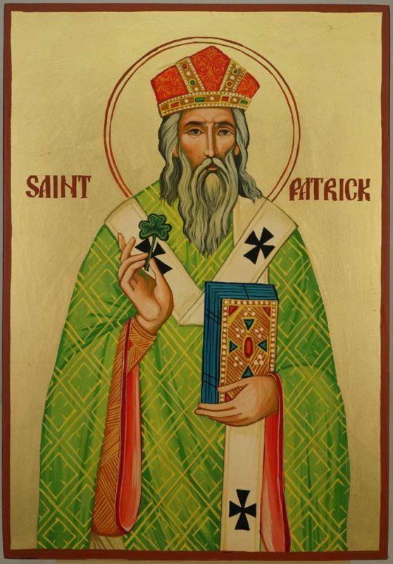 Saint Patrick of Ireland Large Hand Painted Orthodox Icon on Wood