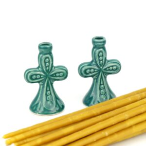 Set of Ceramic Candle Holders B and Beeswax Church Candles